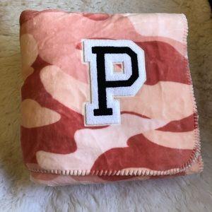 Victoria's Secret Pink camouflage Sherpa blanket